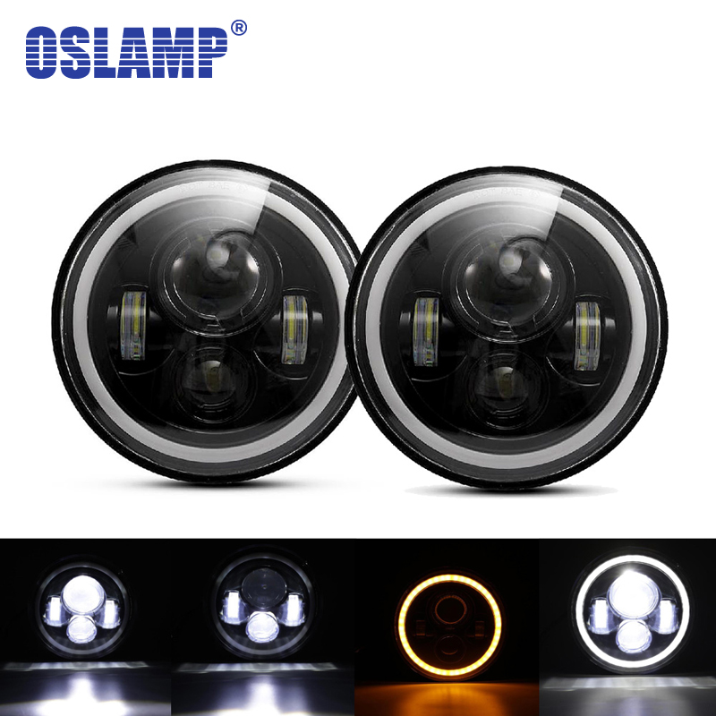 Oslamp 2pcs 7 Round LED Headlight with Halo Angle Eye H4 H13 Aftermarket Led Driving Light