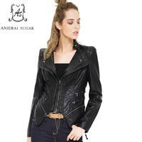 2017 spring autumn PU Leather jacket Women coat Black Short Slim zipper motorcycle Turn down Collar S 6XL female Faux Leather