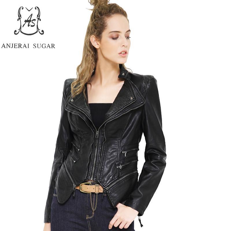 2017 spring autumn PU   Leather   jacket Women coat Black Short Slim zipper motorcycle Turn-down Collar S - 6XL female Faux   Leather