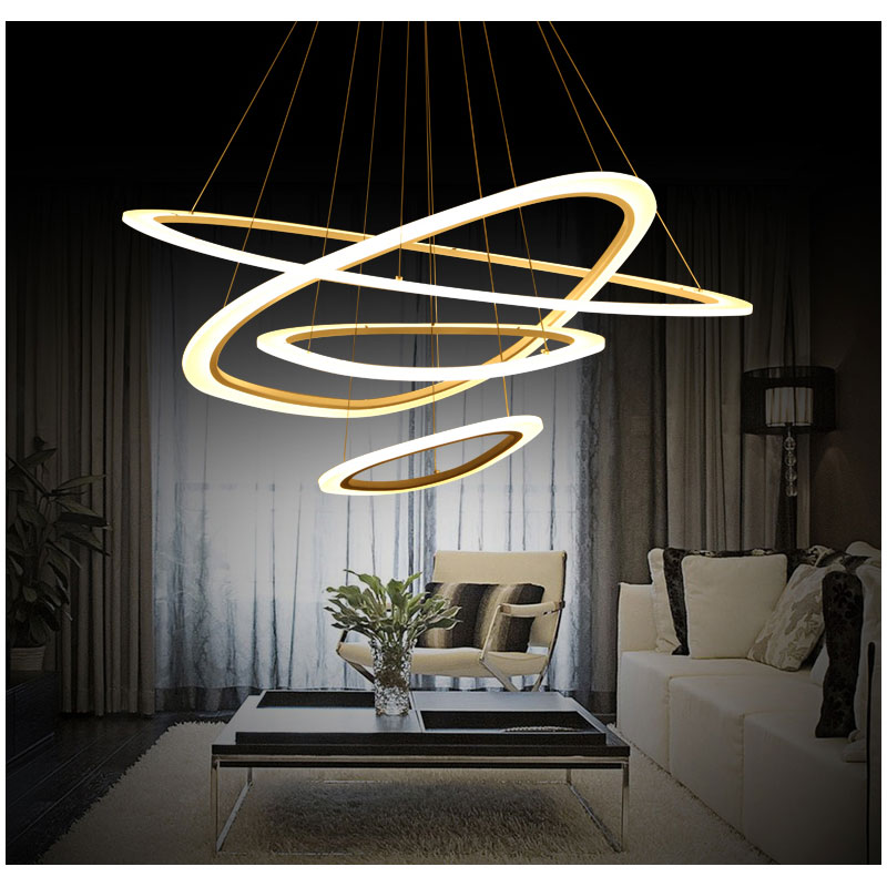 Modern LED Pendant Lights For Living Room Dining Room 4/3/2/1 Rings Acrylic led Pendant Lamp Lighting Ceiling Lamp Fixtures 110V modern led pendant lights for dining living room hanging circel rings acrylic suspension luminaire pendant lamp lighting lampen
