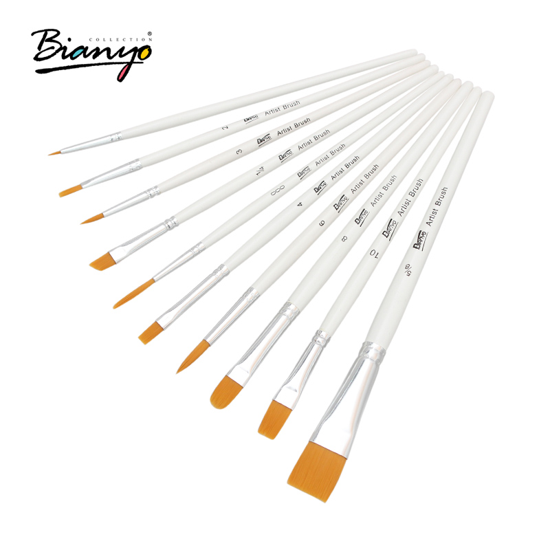 Bianyo 10Pcs Paint Brushes Nylon Hair Wood Handle Different Shape Set For Art Student Watercolor Drawing Paintbrush Art Supplies 14pcs different shape acrylic oil painting brush suit wooden handle brushes drawing tool paint pen with bag art supplies
