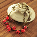 Sale 2015  Fruit Charm Link Vintage Retro Cherry Bracelet  Fashion Jewelry for Women Jewelry Christmas Gift  Free Shipping