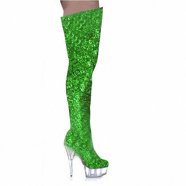 US4-12 Sexy Womens Over Knee Boots Sequins Bling Stilettos Platform Dance Clear High Heel Shoes 15CM 5Colors