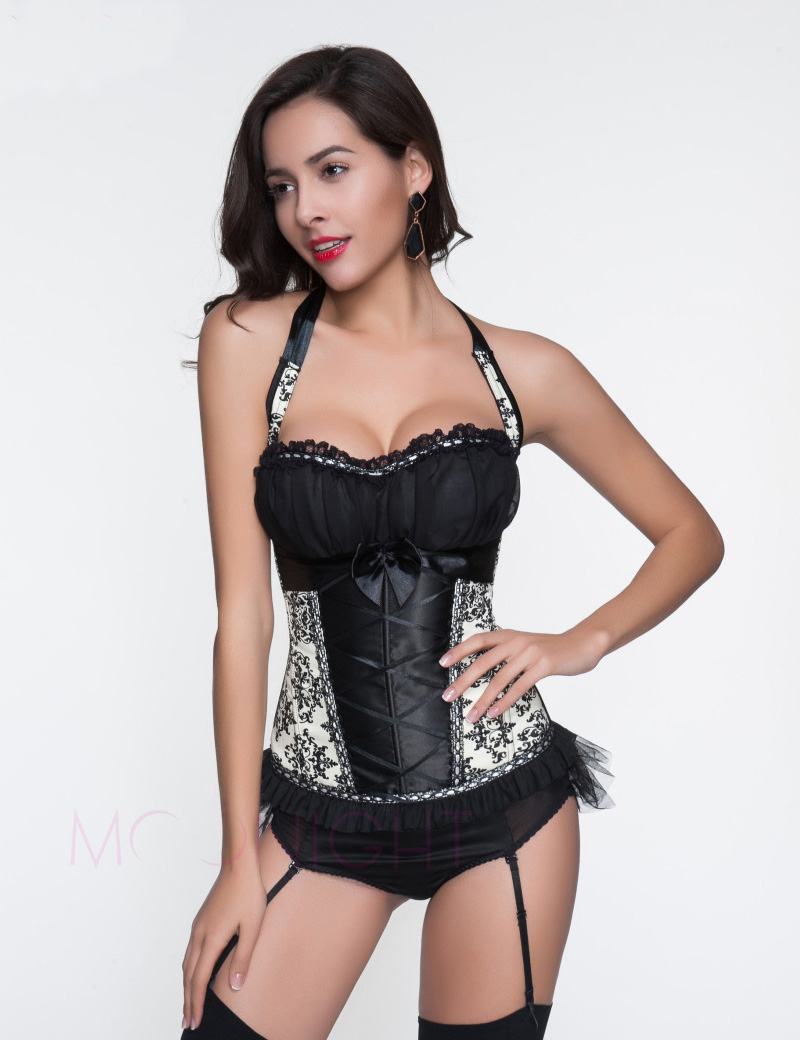 MOONIGHT Sexy Lingerie Hot Gothic Black White Halter Floral Lace Bustier Corset Top For Women Waist Corsets Slimming