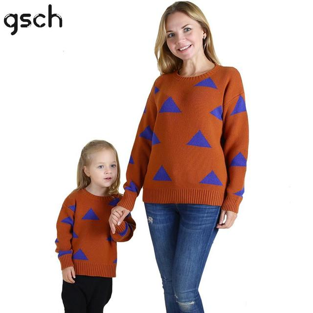 Gsch Cute Family Matching Christmas Sweat 2016 Mother Kids Daughter Family Look Baby Boy Girl Triangle Family Matching Clothes