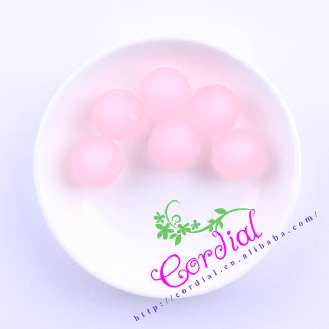 Venta caliente Del Envío Libre 100 unids/lote 20mm Rosa Colores Grande Esmerilado Ronda Bolas De Bolas Para La Joyería # CDWB-517328