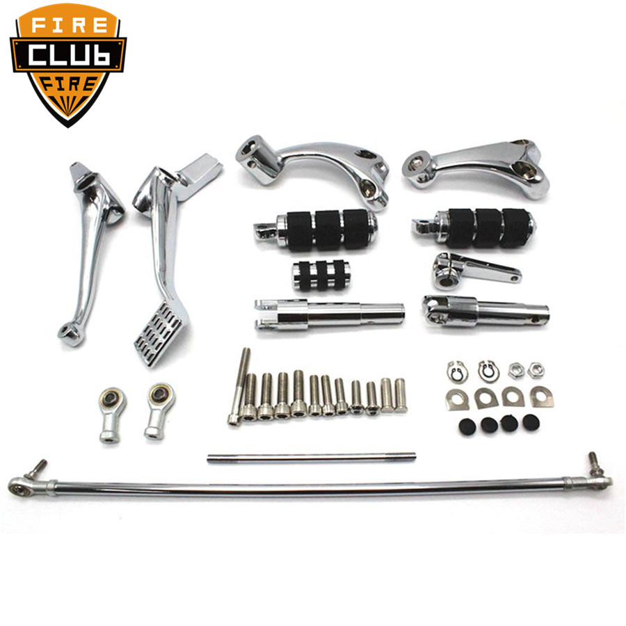 Motorcycle Black Chrome Forward Controls Complete Kit With Pegs Levers Linkages For Harley Sportster 883 1200 XL 2004-2013