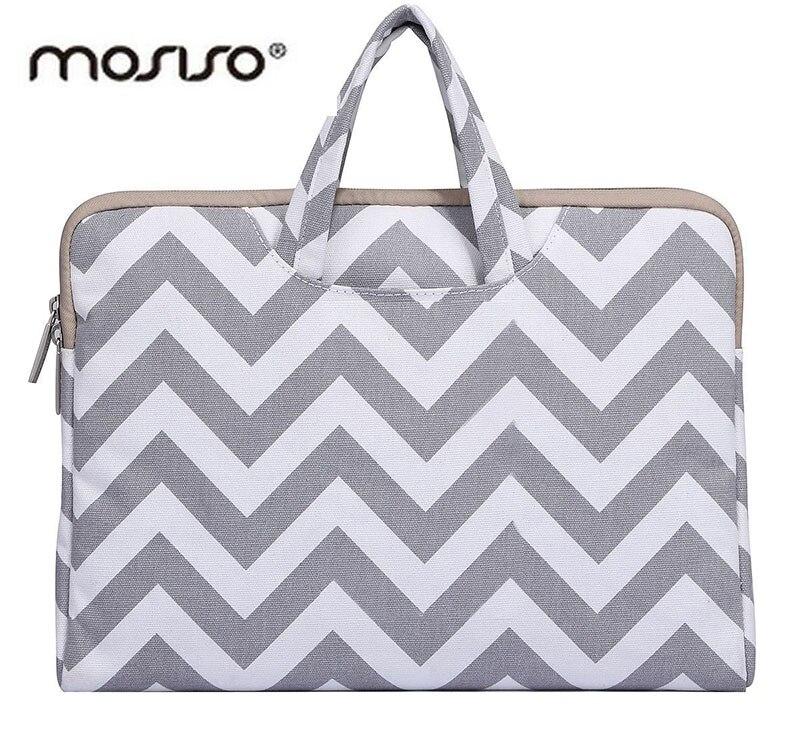 MOSISO 11.6 13.3 15.6 Canvas Laptop Briefcase Bag Case for Macbook Air Pro 11 13 15 inch Notebook Handbag Sleeve Cover for Women