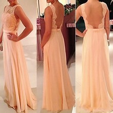 Coral Chiffon Lace Bridesmaid Dresses Custom Made Floor Length Bridesmaid  Gowns Wedding Guest Dress vestido de 351852f3f149