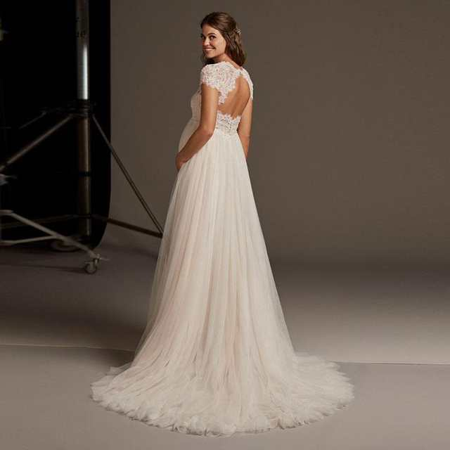 Wedding Gowns With Sleeves.Us 89 0 50 Off Empire Wedding Dress 2019 V Neck Short Sleeve Backless Sexy Maternity Plus Size Lace Beaded Wedding Dresses For Pregant Women In