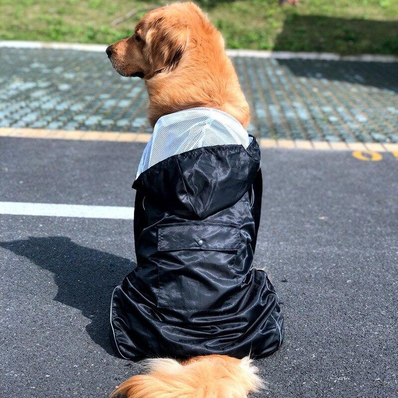 Big Dog Raincoat 7 Sizes Black Solid Rain Clothes Labrador Jumpsuit Rain Coat Jacket 8-40KG Dogs Clothing Raincoat For Large Dog