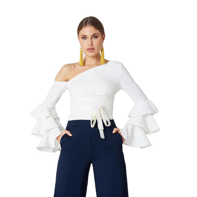 98ea5011f5887 MINSUNDA Layered Flare Sleeve One Shoulder Asymmetric Top Women White Self  Belted OL Work Slim Blouse Summer Ruffle Party Blouse