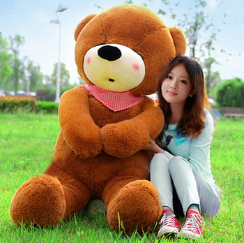big plush squinting dark brown teddy bear toy huge bear doll gift about 140cm