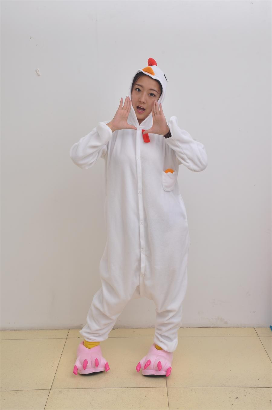 Christmas and Halloween new white cock jammed animal pajamas Sleepsuit clothing cartoon reality household to take