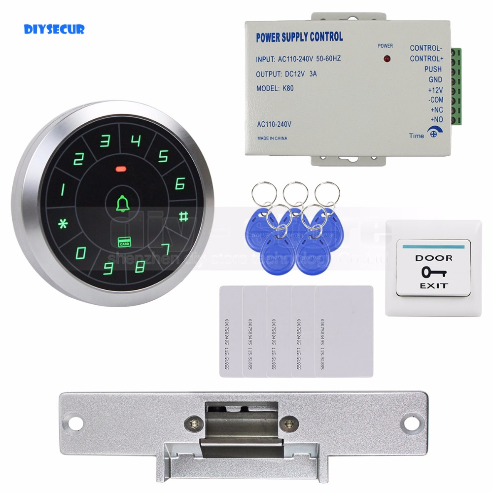 DIYSECUR Access Control System 8000 Users 125KHz RFID Reader Password Keypad + Electric Strike Lock Door Lock Security Kit diysecur 125khz rfid metal case keypad door access control security system kit electric strike lock power supply 7612