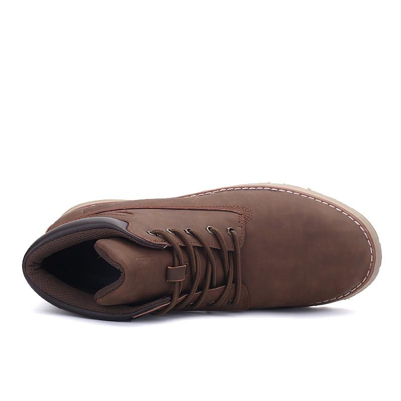 Trabalho Outono light Do Brown Ankle Sapatos Boot Quente Dark Brown Inverno De Manter Lace Botas Couro Faux Segurança Dos E up Camurça Neve Fashion Homens Primavera q8UfSU