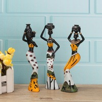 Exquisite 3PCS African Lady With Vase Ornament Ethnic Statue Sculptures National Culture Table Figurine Home Decor