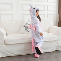 Unicorn Onesie Pink Pajama Girls Kids Child Home Party Wear Lovely Cute Animal Cartoon Winter Warm