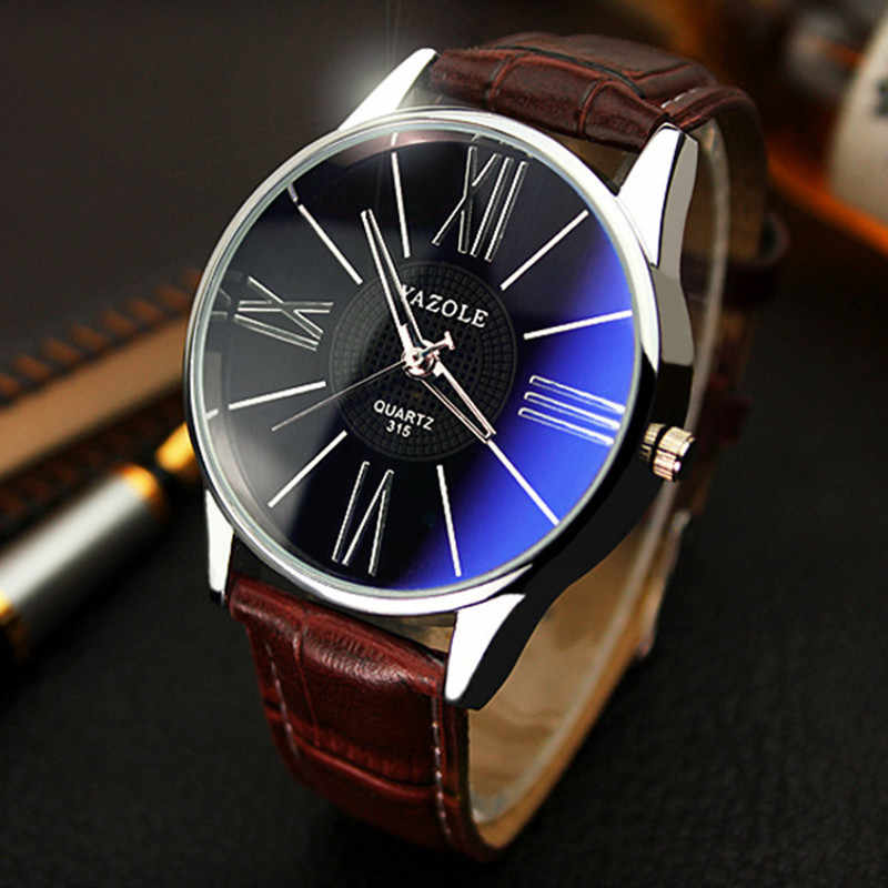 Heren horloges top brand luxe leatherLuxury Mode Lederen Heren Glas Quartz Analoog Horloge Horloges relogio masculino 30y