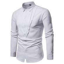 Mens Long sleeve Shirt Solid color Unique design Large Size Blouse Mens Dress Shirts Men's Clothes Summer White Black все цены