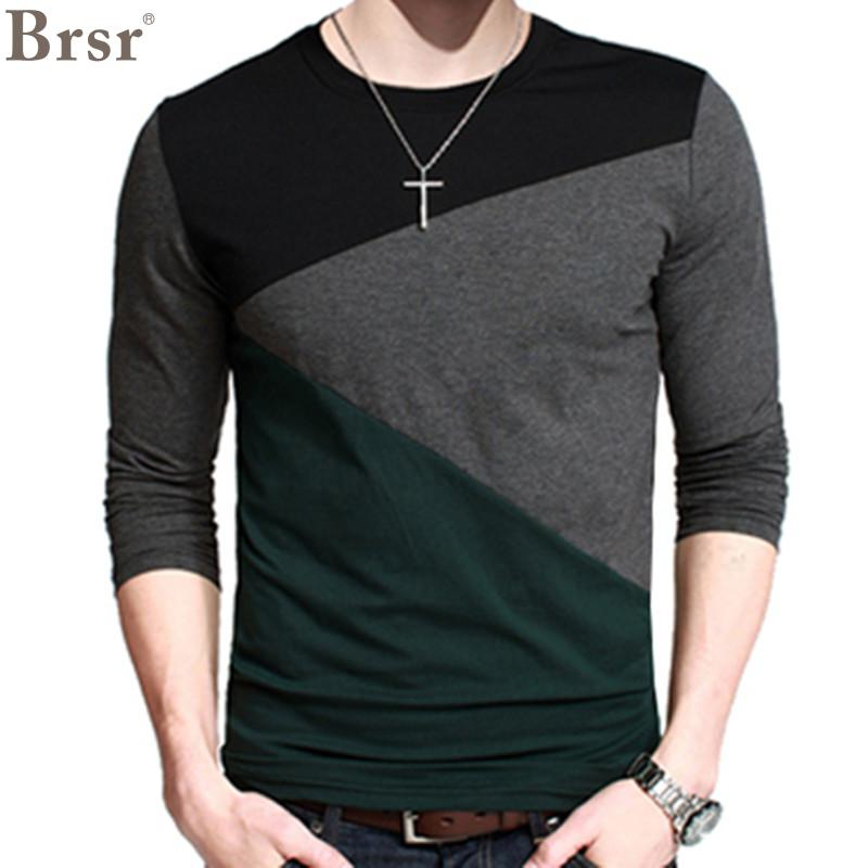 2018 New Plus Size Mens Autumn Casual T shirt Fashion Slim ...