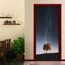 2pcs/set  man Starry sky landscape Door Wall Murals Stickers Wallpaper Room Decoration Bathroom Home Decals