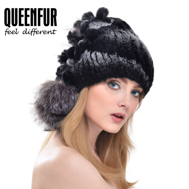 QUEENFUR Natural Rex Rabbit Fur Beanies With Silver Fox Fur Side Ball Hat 2016 Winter Women Fashion Knitted Fur Cap Good Quality