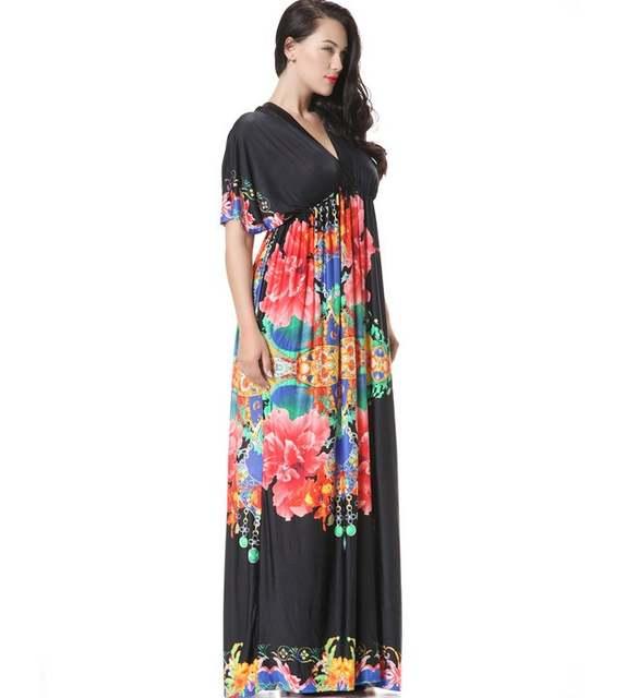 Women Summer Autumn Dresses Big Size Hollow Out Casual Wear Loose Floral  Bohemian Dress Simple Dress ac69f01c1334