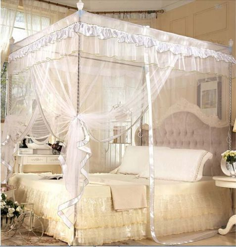 Wit Vier Hoek Post Bed Canopy Klamboe GEEN Frame Post in Wit Vier ...