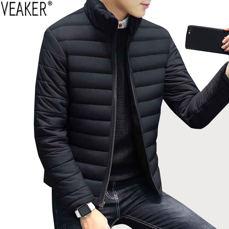 2018 Autumn New Men's Down Jacket   Parkas   Solid Color Slim Fit   Parkas   Coat Cotton Padded Stand Collar Black Outerwear Coat