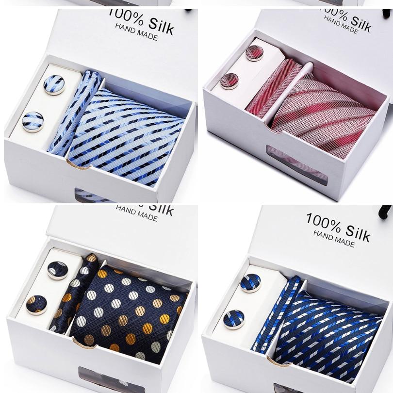 Apparel Accessories New Arrival Fashion Silk Ties For Men High Quality Brand Design Necktie Handkerchief Cufflinks Set 2 Pcs/lot Wholesale Group Tie