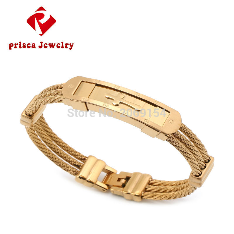 Herrer armbånd gullsmykker personlig armbånd smykker sølv klassisk armbånd og armbånd magnetisk stål armbånd med kors