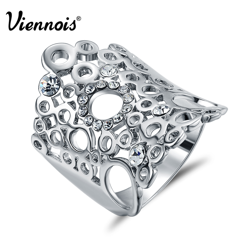 Viennois New Silver Color Multiple Circles Wide Rings for Women Rhinestones Hollow out Ring Female Wedding Bridal Jewelry