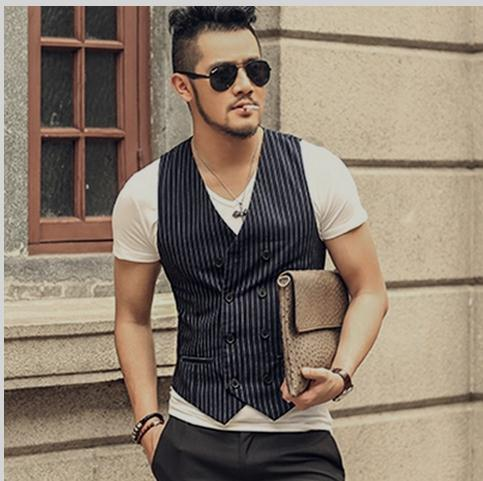 Spring And Summer Mens Double Breasted Vest Slim Striped V Neck Casual Grey/Navy Blue Male Waistcoats Sleeveless Jacket J1129