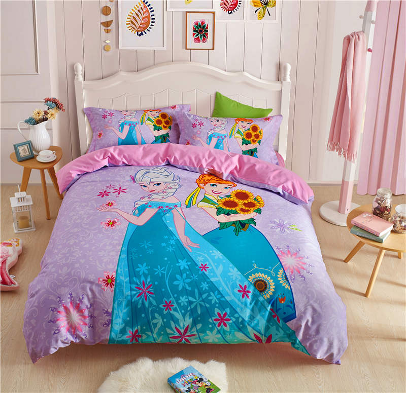 Fille maison textile automne hiver couvre-lit disney bande dessinée literie reine des neiges princesse linge de lit enfants reine taille ensemble de lit 4pc ponçage