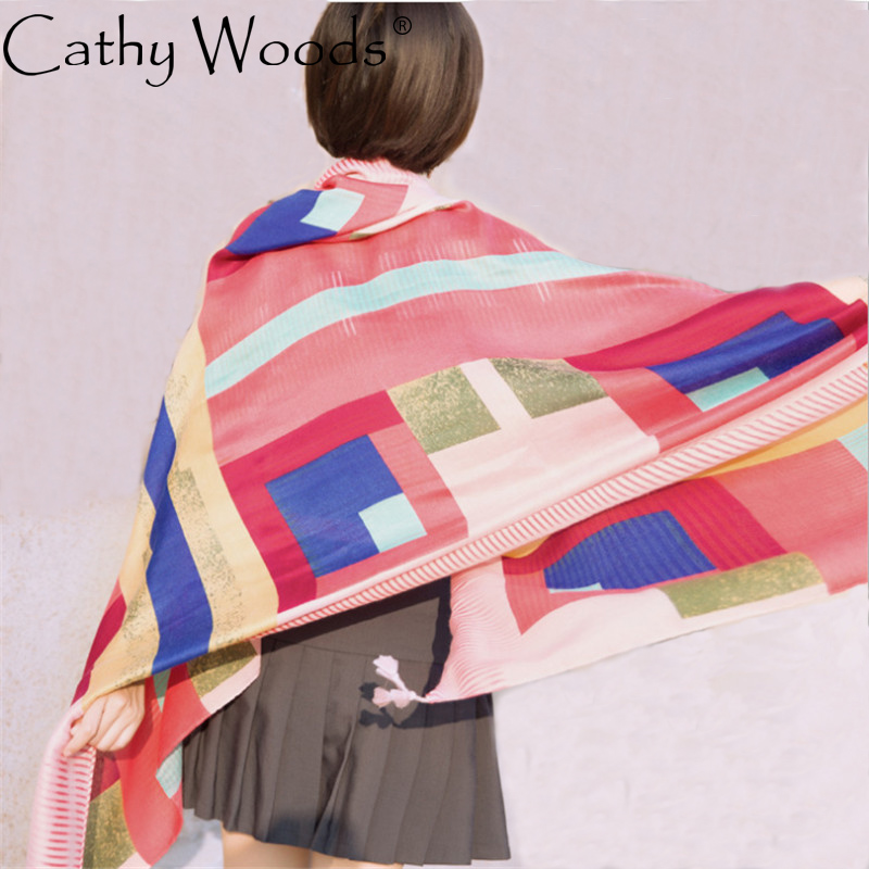 CW cotton linen rainbow lattice fight color tassel scarf beach sun shawl for women four  ...