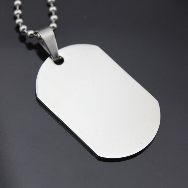 Silver dog tag necklaces stainless steel pendant long link for Do pawn shops buy stainless steel jewelry