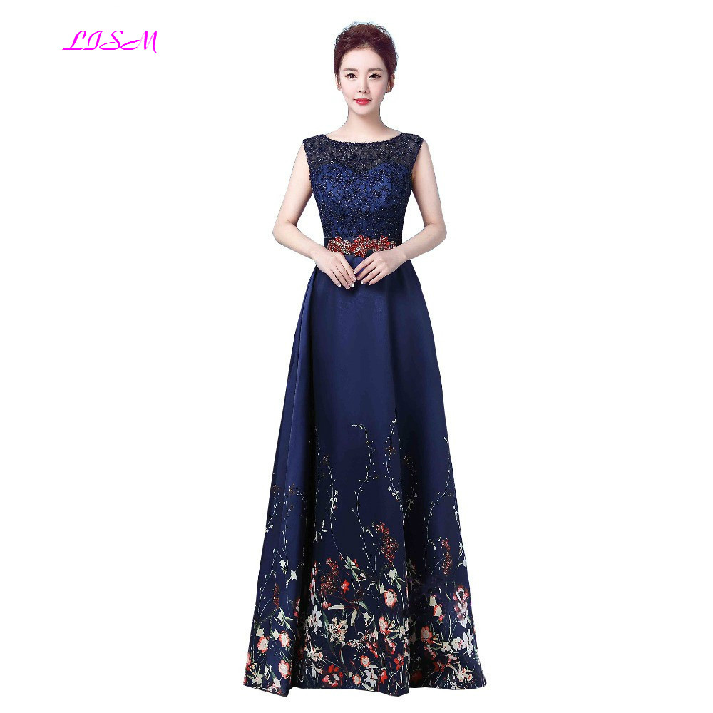 Elegant Floral Print   Bridesmaid     Dresses   A-Line Empire Wedding Guest   Dress   Scoop Sleeveless Formal Long   Dress   for Wedding Party