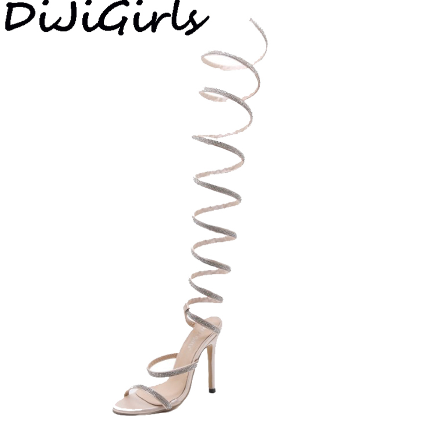 купить DiJiGirls Women Spiral Twist Sandals Gladiator Sandals Rhinestone Satin Summer Knee High Cut Out Boots Shoes High Heel Stiletto онлайн