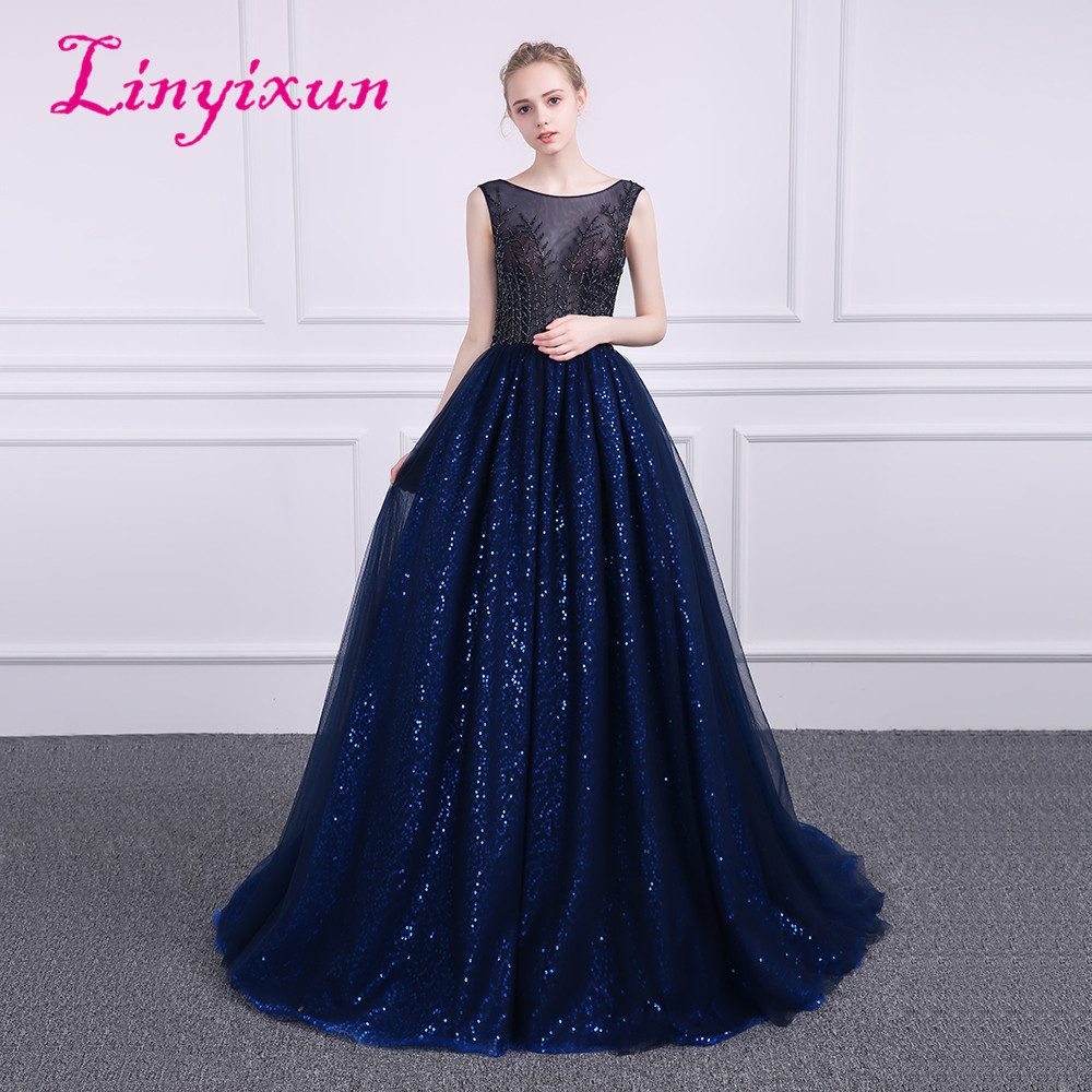 Linyixun Bling Bling Illusion Elegant A line   Prom     Dresses   2018 Scoop Backless Sleeveless vestido de festa From Evening   Dresses