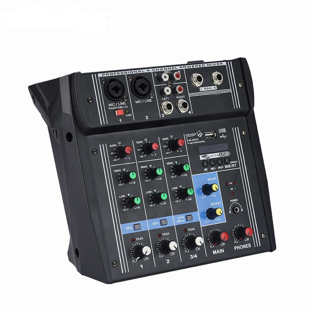 2019 Mini 4 Channel Music Console Power Mixer with USB Bluetooth