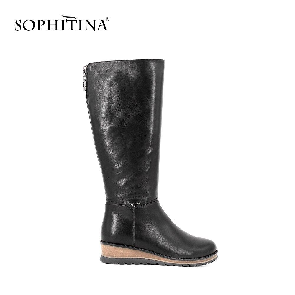 SOPHITINA бренд телячья кожа малыша замшевые сапоги до колена каблук меховые плюшевые женские ботинки ручной работы из натуральной кожи шерсть