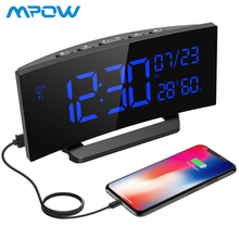Mpow цифровой будильник изогнутый экран двойной будильник Повтор Функция многофункциональные часы с 5 »большой дисплей таймер сна 2019