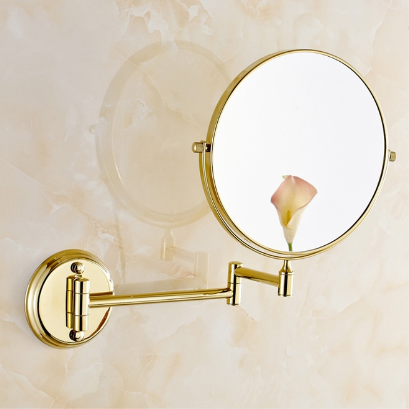 Bathroom Mirrors 8 Inch Double Faced Wall Mount 1x3 Magnifying Brass Mirrors Accessories European Bathroom Makeup Mirrors 1308A 700brass bathroom mirrors hzj01 solid brass