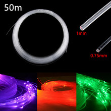 Plastic Fiber Optic Cable End Glow 50mx0.75mm/1.0mm PMMA Led Light Clear DIY For LED Star Ceiling Light Drop Shipping(China)