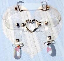 Harajuku Handmade Rivets Spike Silver Small Big Large Heart Clear Transparent Vinyl Single Row Leg Garter Belt Suspender Loop