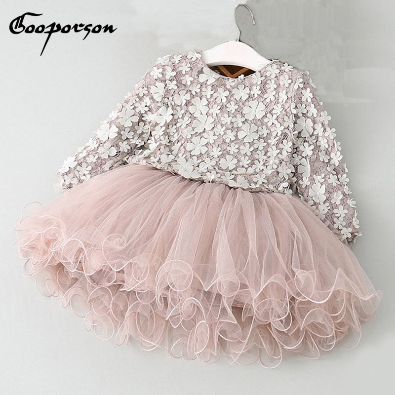 Baby Girls Tutu Dress Long Sleeve Fashion Flower Spring Dress Kids Clothes Princess Party Dresses For Children Girl's Clothes autumn girls children s kids baby long sleeve lace mesh tutu patchwork basic dresses princess wedding party dress vestidos s5691