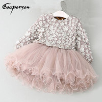 Baby Girls Tutu Dress Long Sleeve Fashion Flower Spring Dress Kids Clothes Princess Party Dresses For