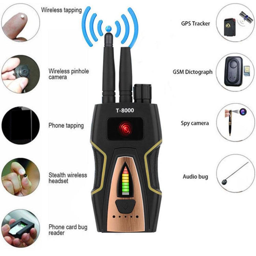 T8000 Anti Spy Anti Hidden Camera Detector RF Bug Detector Wireless Signal Scanner Alarm Security Motion Vibration Sensor