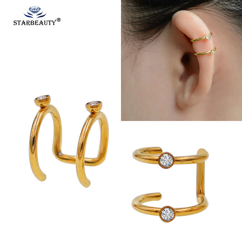 2Pcs/Lot Stainless Steel Double Hoop Non Piercing Closure Rings Fake No Piercing Ear Cuff Clip On Earring Tragus Cartilage